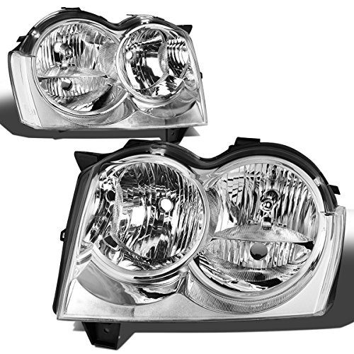 DNA Motoring Chrome HL-OH-057-CH-CL1 Clear Lens Headlights Lamp [05-07 Jeep Grand Cherokee WK]