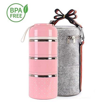 Fiambrera Bento Box de 3 niveles Caja de almuerzo Bento, Cajas de ...