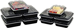 Meal Prep Containers (12/28oz, 10 Count Black)