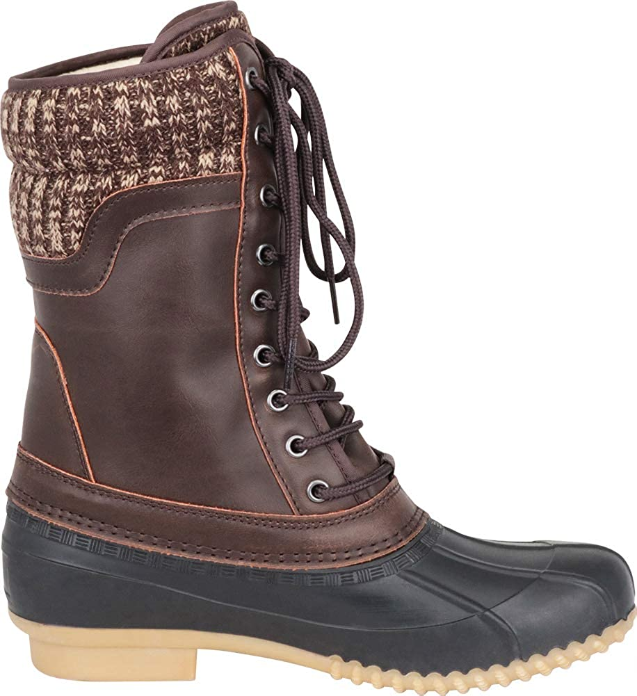 Outdoor Women Cambridge Select Womens Knit Sweater Cuff Lace-Up Duck Rain Boot