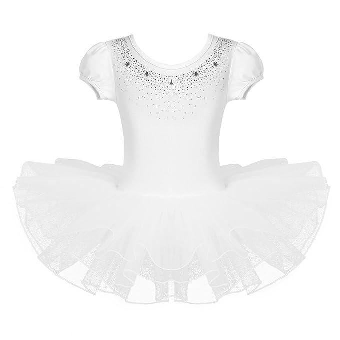 iEFiEL Tutú Vestido de Princesa Maillot de Danza Ballet Niña Suave Algodón con Braguita Interior Blanco