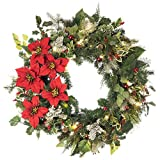 30 in. Artificial Pre Lit LED Decorated Wreath Christmas Wreath-Poinsettia flower decorations-50 super mini LED warm clear colored lights with timer and battery pack for indoor and outdoor use