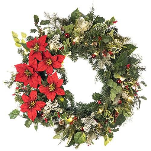 30 in. Artificial Pre Lit LED Decorated Wreath Christmas Wreath-Poinsettia flower decorations-50 super mini LED warm clear colored lights with timer and battery pack for indoor and outdoor use by Village Lighting (Image #7)