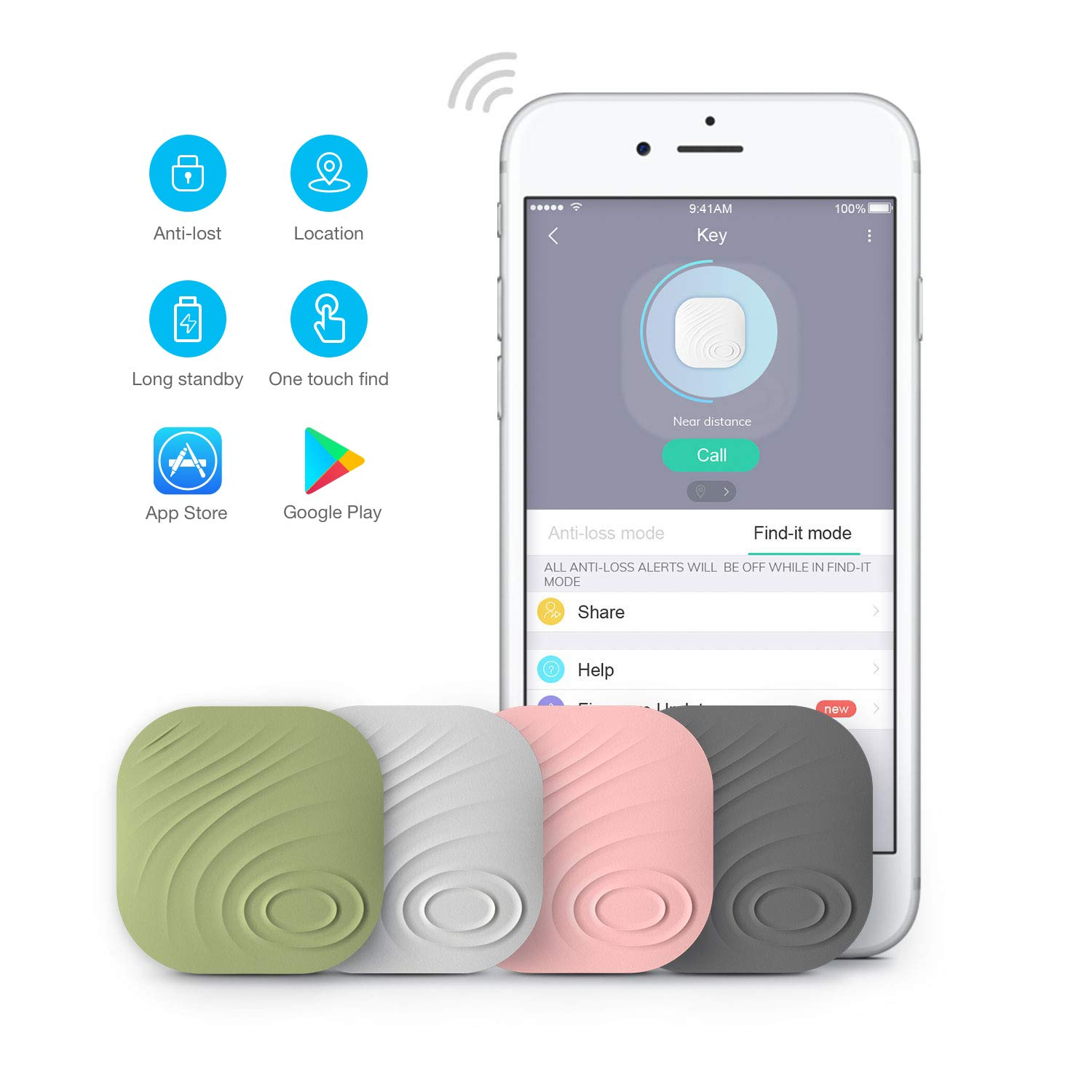 Key Finder, Wonbo Anti-Lost Bluetooth Tracking Locator for Keys, Phones, Wallets, Bags with APP Control Compatible with iOS & Android (4 PCS) ... by homectrl