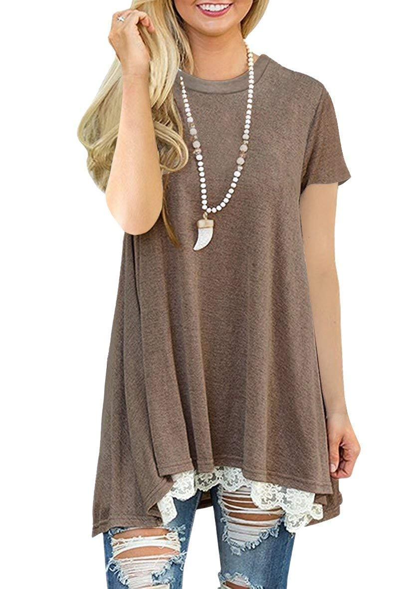 Uniboutique Women Short Sleeve Scoop Neck Loose Fit Lace Trim Flowy Tunic Top Blouse with Pockets Coffee XXL