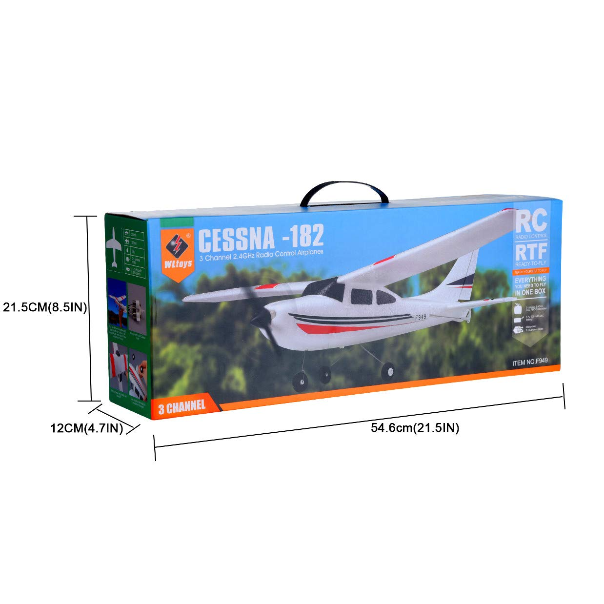 Remote Control Airplane for Beginners &Intermediate Flight Game Players F949 3CH 2.4G RC Airplane RTF Glider EPP Composite Material 14+,Designed According To Cessna-182 Plane (White) by succeedtop ❤️ Ship from US ❤️ (Image #8)
