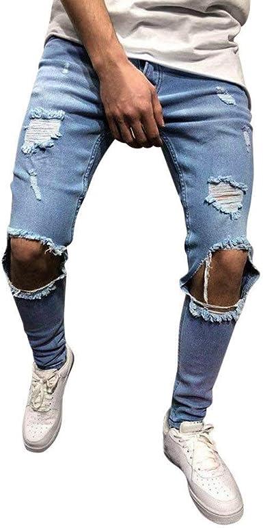 Jeans Para Hombres Transwen Fashion Men Stretch Denim Pants Distressed Torn Frayed Slim Festivo Fit Zipper Jeans Pantalones Casual Pantalones Jeans Biker Pantalones Leisure Deim Jeans Amazon Es Ropa Y Accesorios
