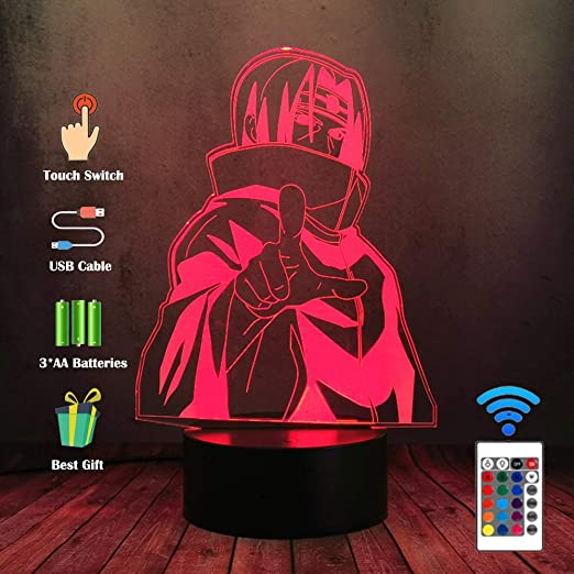 Oferta amazon: Luz nocturna LED 3D Uzumaki Naruto Sasuke Itachi Acción lámpara de escritorio 16 Color Touch ilusión óptica lámpara de mesa ogar Kid Dormitorio sueño suave bombilla de iluminación regalo decoración