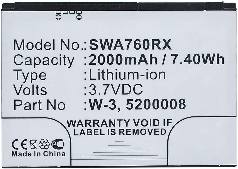 W-3 2000mAh replacement battery spare subtel/® Premium Battery compatible with Sierra Wireless AirCard 760s 763s 785s 762s