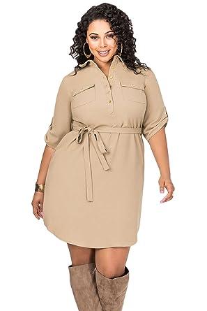 Sunshine Plus Size Dress Khaki Belted Textured Shirt Dress At Amazon