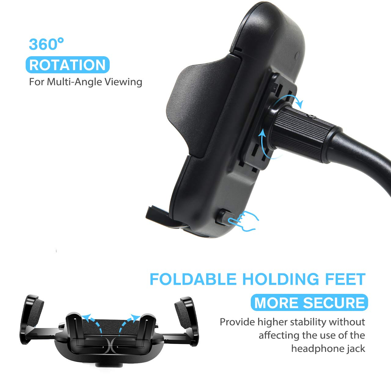 Car Cup Phone Holder Samsung and GPS CB-CH-1 Kuelor Universal Long Arm Cell Phone Car Mount with 360/° Rotatable Cradle Compatible for All Smartphones Such as iPhone