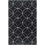 Surya Cosmopolitan COS-8872 Transitional Hand Tufted 100% Polyester Jet Black 2'6'' x 8' Geometric Runner