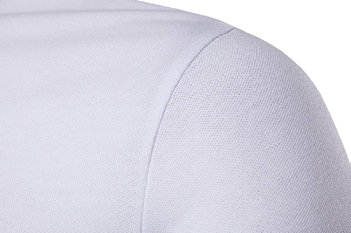 YUNY Mens Summer Short Sleeve Pure Colour Oversize Polo Top Tshirt White L