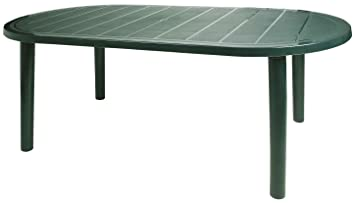 Resol Brava Table de jardin ovale en plastique Vert 180 x 90 cm ...