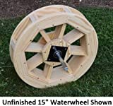 Amish-Made Decorative Waterwheel – 15″ Diameter, Oak Stain For Sale