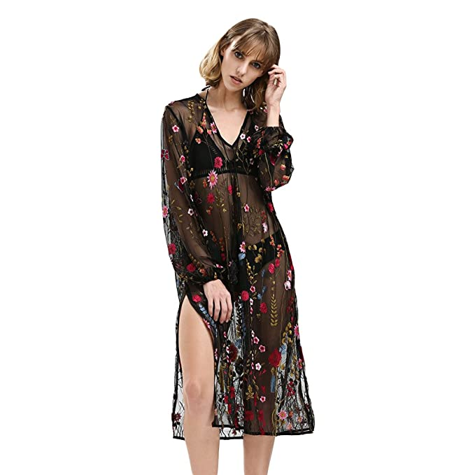 05e8c7e36d2 DEZZAL Women s Floral Embroidered Mesh Sheer Evening Cocktail Maxi Dress(S)