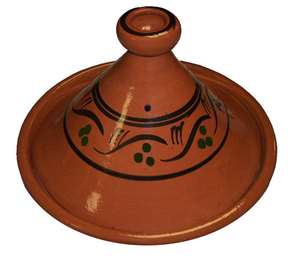 """Moroccan Cooking Tagine Handmade 100% Lead Free Safe Large 12 inches Across Traditional Treasure of Morocco glazed 12"""" tagine"""