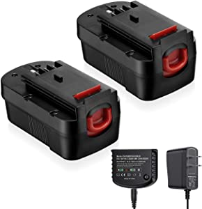 Powerextra 3.7Ah 18V Ni-MH Battery and Charger Compatible with Black and Decker HPB18 244760-00 A1718 HPB18-OPE A18 Firestorm FS180BX FS18BX FS18FL FSB18 (2 Batteries and 1 Charger)