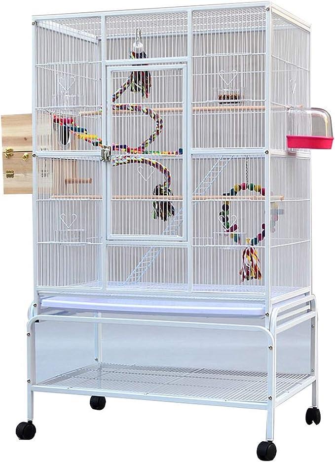 YHRJ Jaula para ninfas Jaula para Ninfas, Jaula para Pájaros Cuadrada De Hierro para Interiores, Jaula Grande para Periquitos, con Soporte Y Rodillos, 2 Estilos (Color : White A)