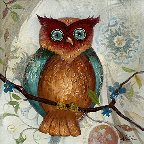 Abstract Canvas Wall Art Owl I Acrylic Painting, 24-Inch