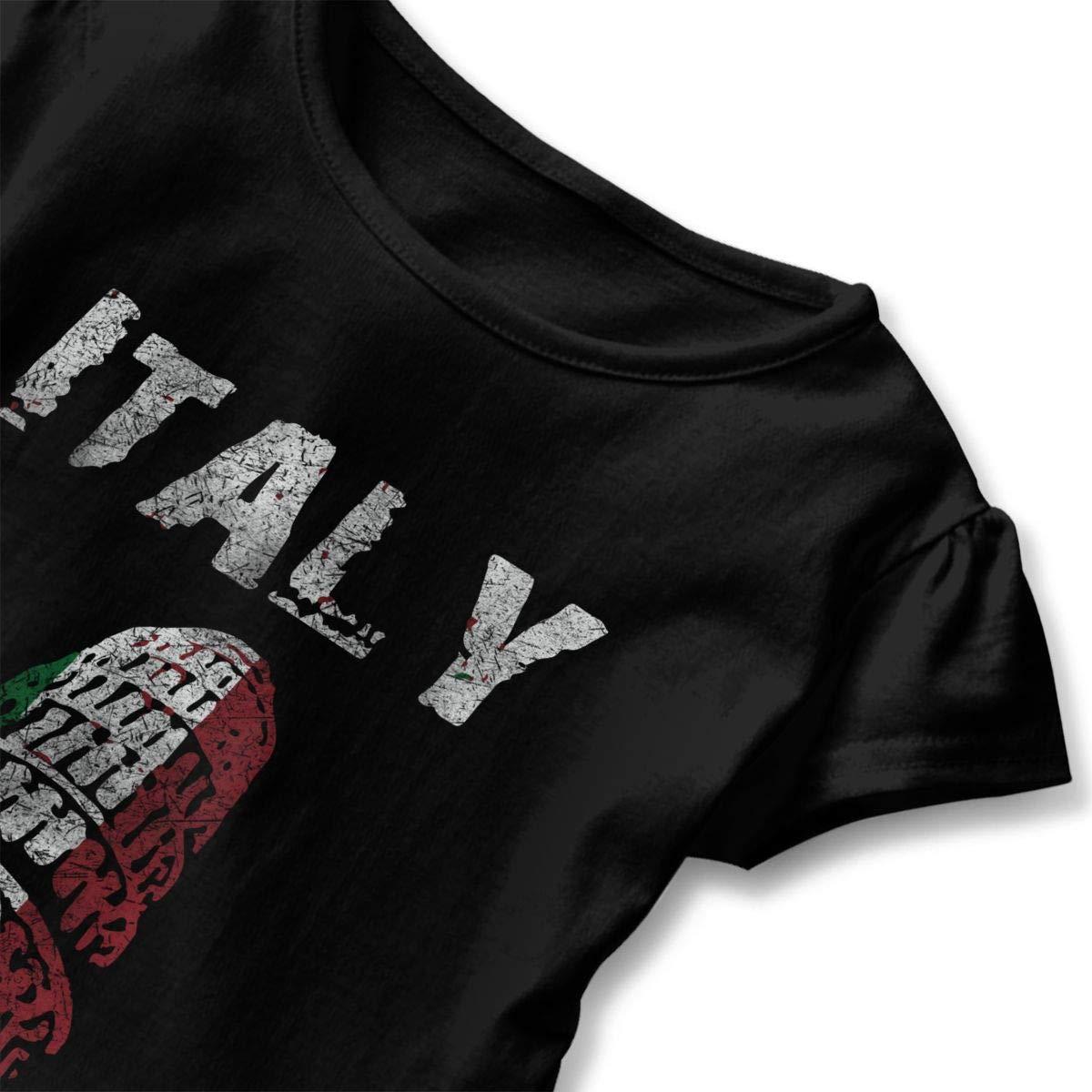 CZnuen Nation Design Italy Pisa Baby Girls Round Neck Short Sleeve Ruffle T-Shirt Top