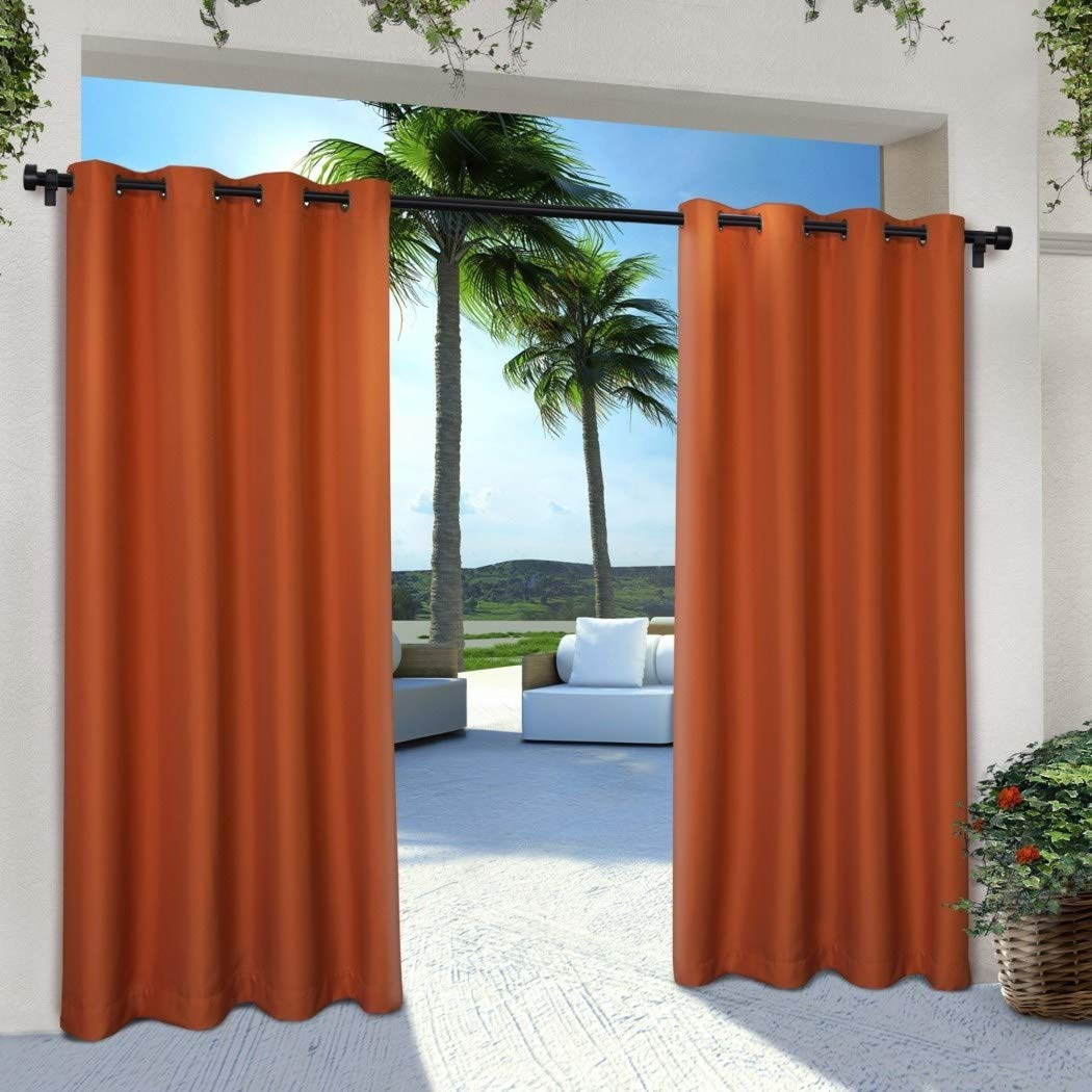 2 Pieces 84 Inch Mecca Orange Color Gazebo Curtains Set Pair, Dark Orange Solid Color Pattern Rugby Colors Outside, Indoor Pergola Drapes Porch Deck Cabana Patio Screen Entrance Sunroom Lanai Stripes