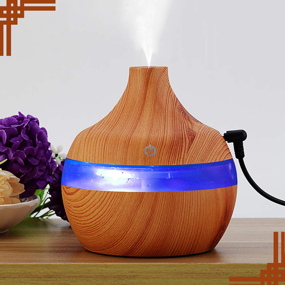 yanQxIzbiu Essential Oil Diffuser Wood Grain USB 300ml Humidifier Aroma Diffuser Mist Maker Colorful LED Light - Wood Grain for Bedroom Living Room Study Yoga Spa by yanQxIzbiu (Image #6)