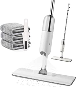 Microfiber Spray Mop for Floor Cleaning - AUSELECT - Mop for Home Kitchen Wood Tile Laminate Ceramic Floor Cleaning Tool with 350ml Refillable Water Tank Include Extra 3 Microfiber Washable Reusable Pads and 1 Scraper
