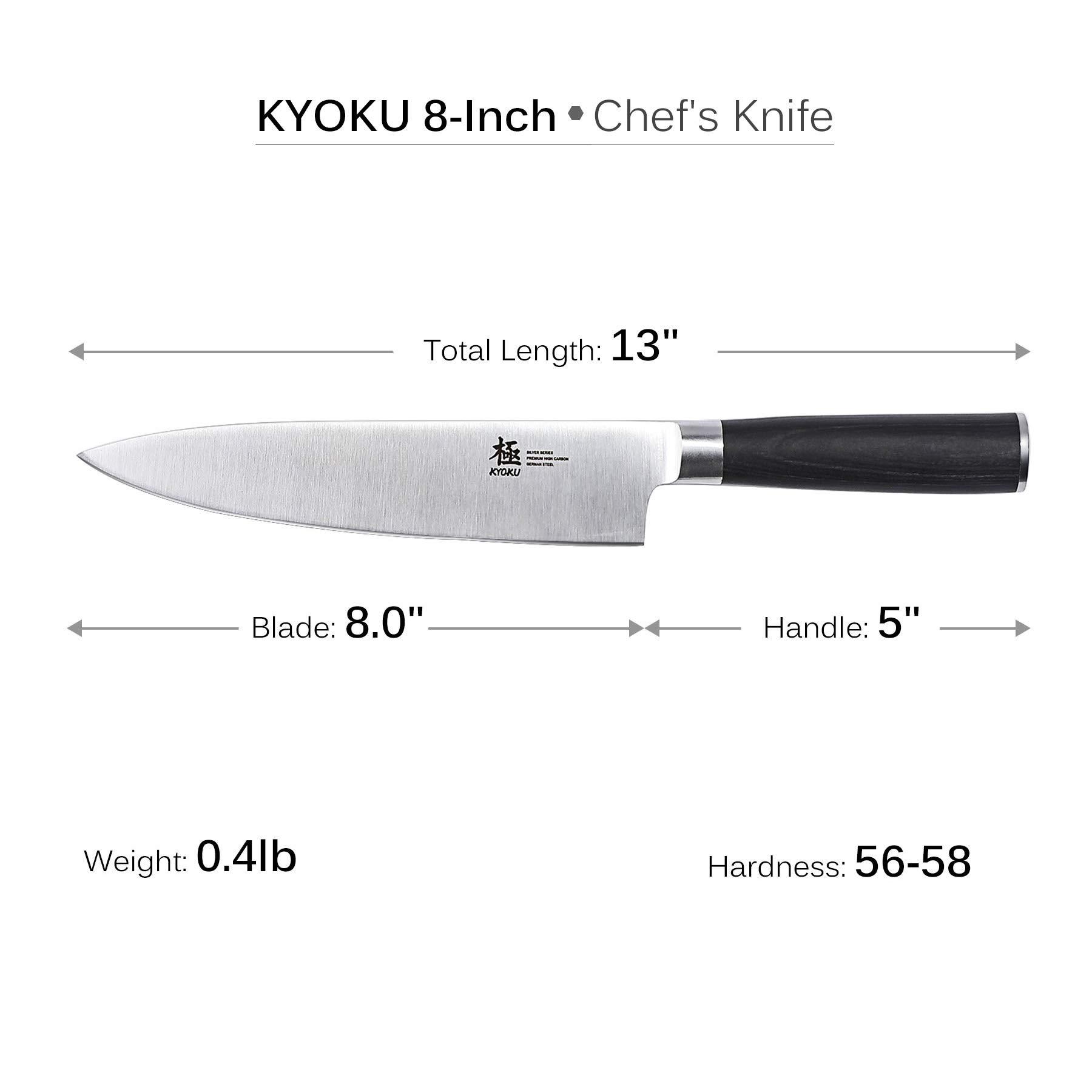 KYOKU Samurai Series - Chef Knife 8'' with Sheath Case - Japanese Steel - Ultra Sharp Blade Ergonomic Pakkawood Handle by KYOKU (Image #4)