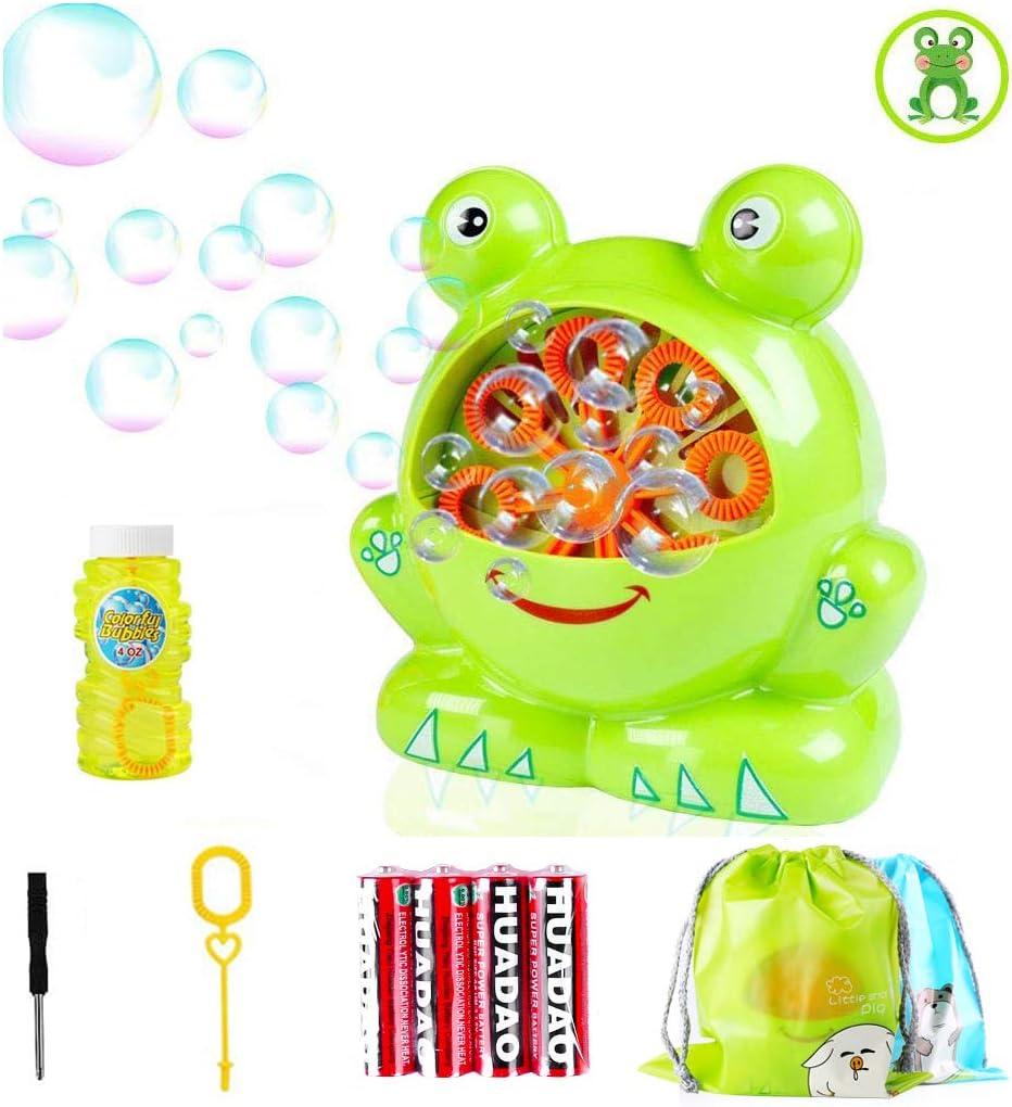 Morkka Portátil Máquina de Burbujas, Soplador de Pompas de Jabón Duradero, Divertida Forma de Frog Shape para Niños y Adultos Fácil de Usar para Navidad Fiestas Barbacoa Boda