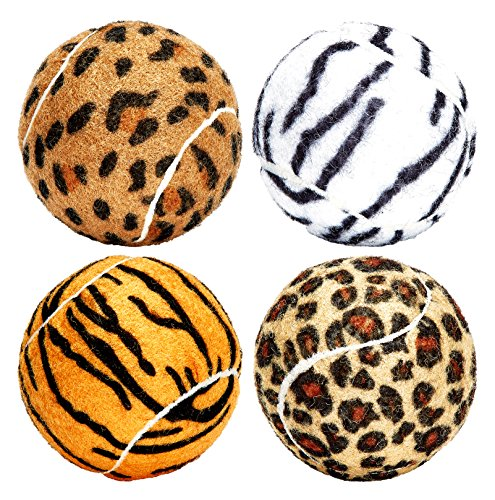 (Unique Dog Fetch Squeaker Balls Animal Prints 4 Pack)