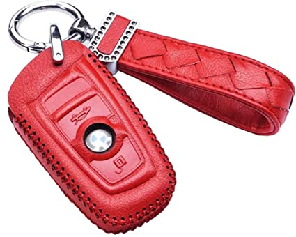 Womens Red BMW Genuine Leather Key Case cover Shell For BMW 3-Button  Keyless Entry 4ea15faac