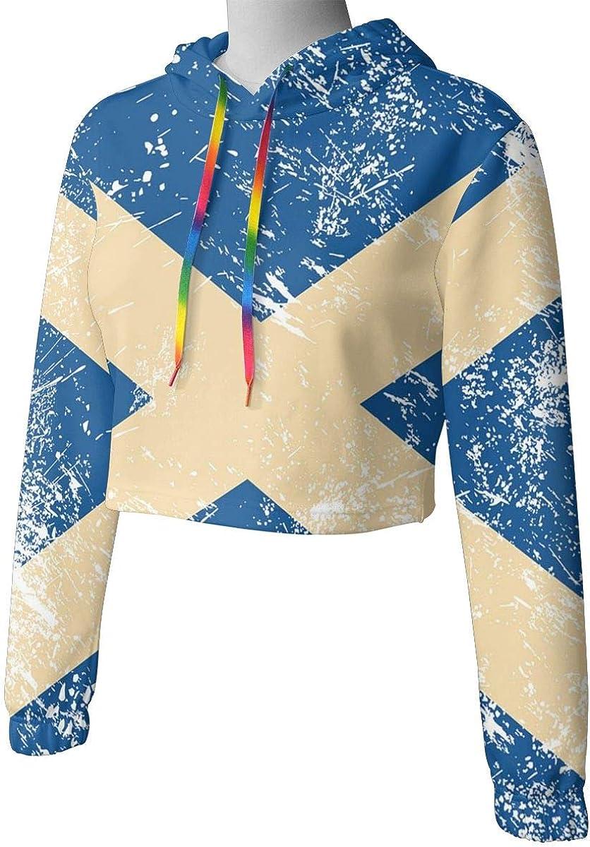 Kangxing Network Scotland Retro Flag Womens Getaway Cropped Hoodie Sweatshirt