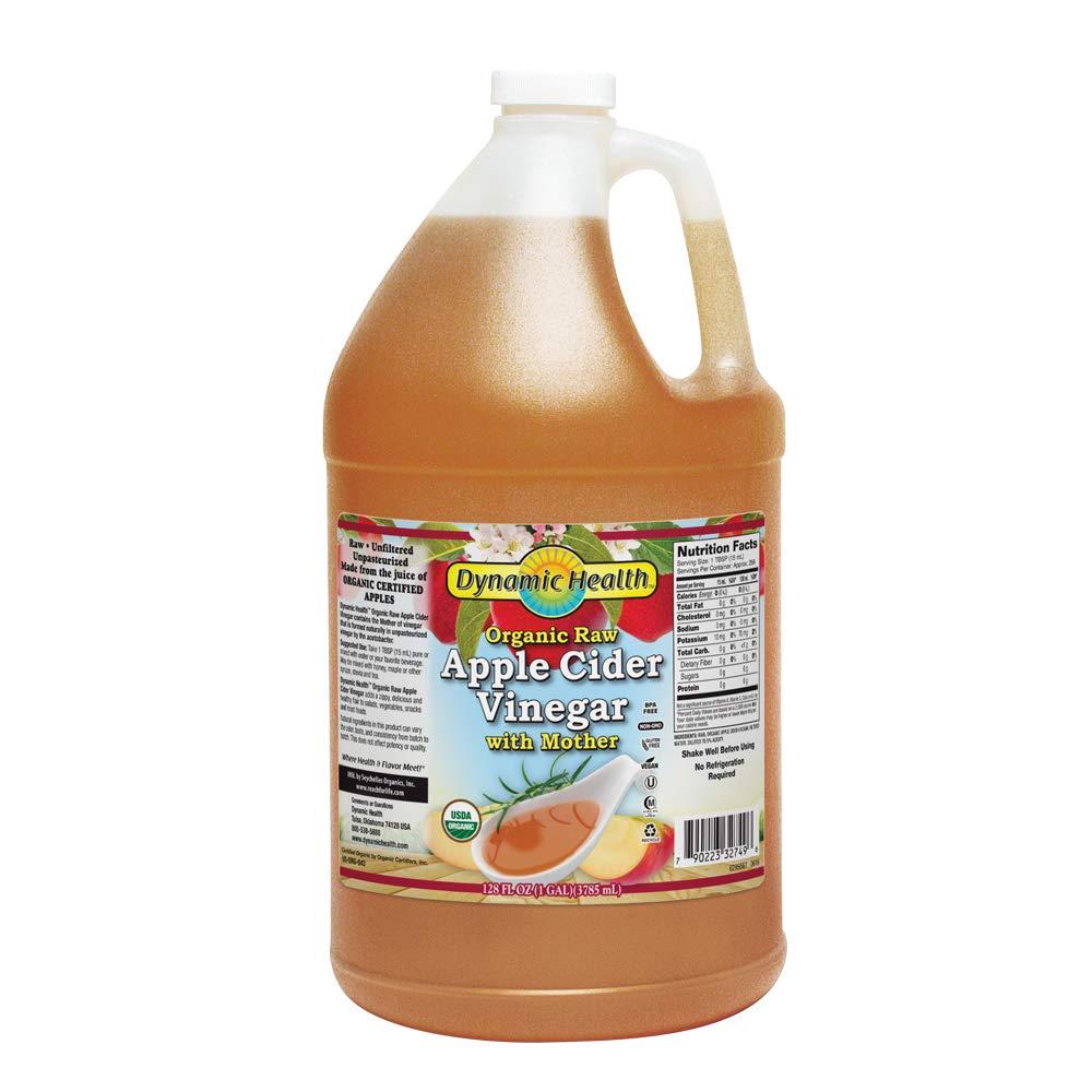 Dynamic Health Certified Organic Raw Apple Cider Vinegar with Mother | Vegan, Gluten Free, Non-GMO, Unpasteurized | 128 FL OZ, Btl-Plastic by Dynamic Health