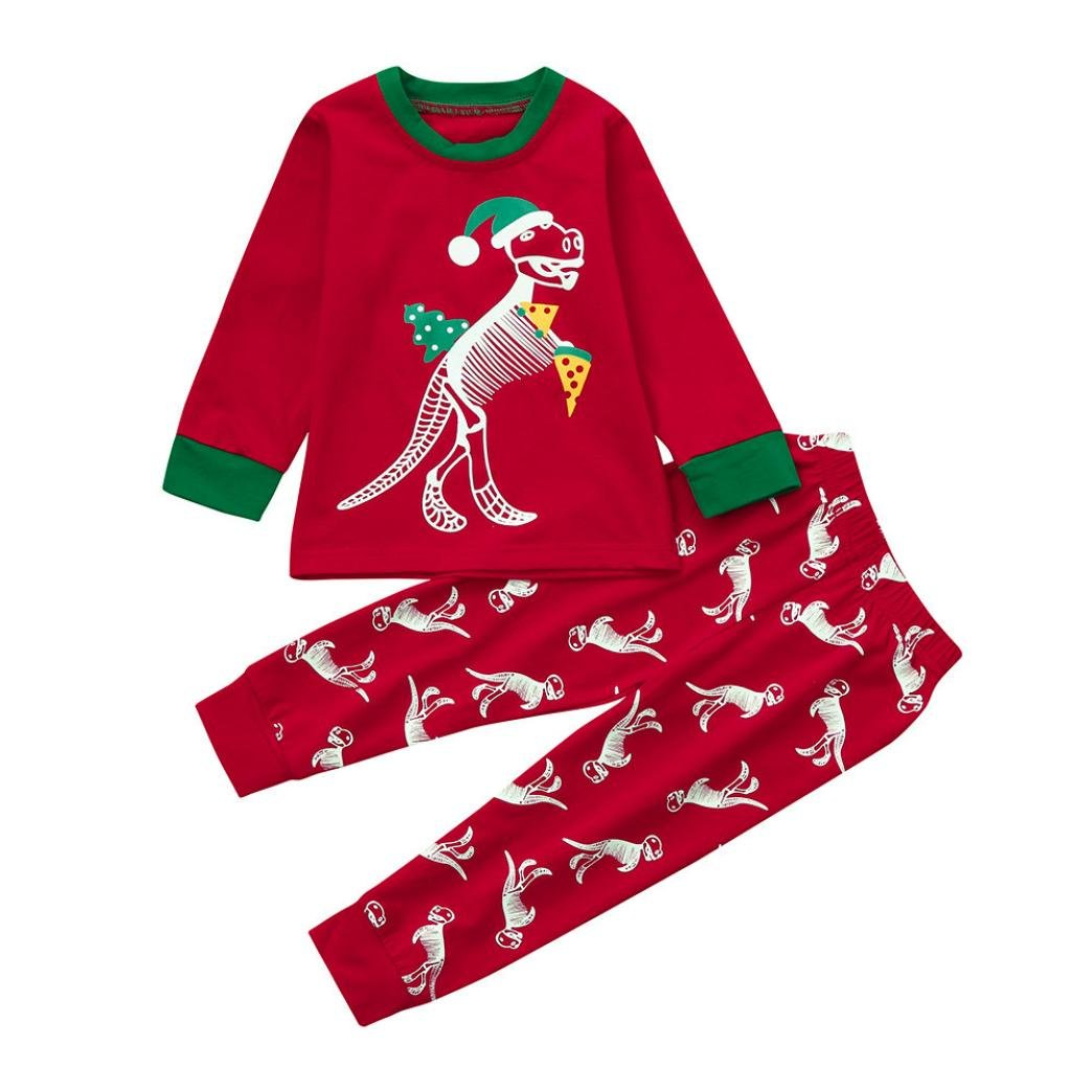SHOBDW Boys Outfits, Infant Baby Girl Christmas Dinosaur Round Collar Tops + Pants Home Outfits Pajamas Xmas Gifts Set SHOBDW-029