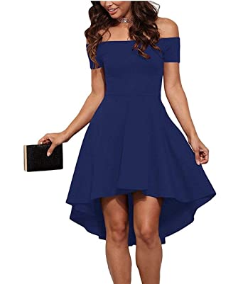 43aaa6f57eb2 Naivikid Fashion Women s Sexy Off Shoulder High Low Asymmetric Cocktail  Party Dress Blue S