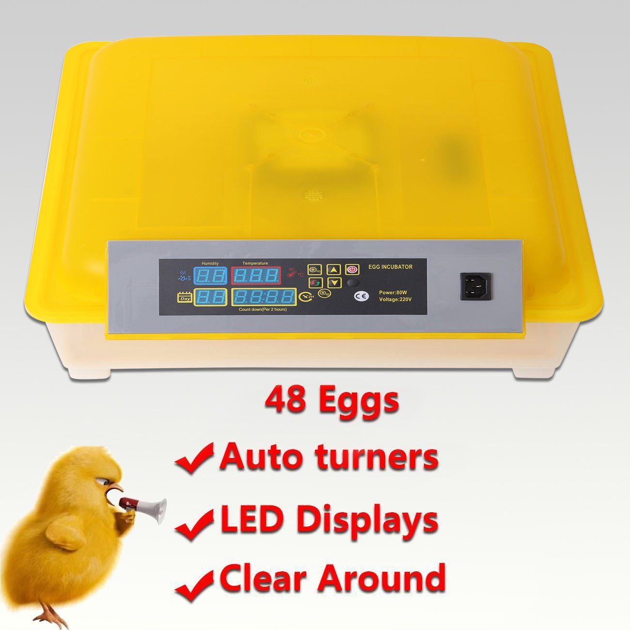 Euroeshop 48 Digital Automatic Chicken Egg Incubator Hatcher Supply Fully Egg Turning Temperature Control Iglobalbuy Co ltd