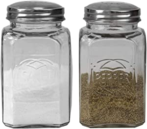 Home Basics, Clear Bistro 3.8 oz. Tabletop Glass Salt and Pepper Shakers for Home and Kitchen Utensils (Set of 2)