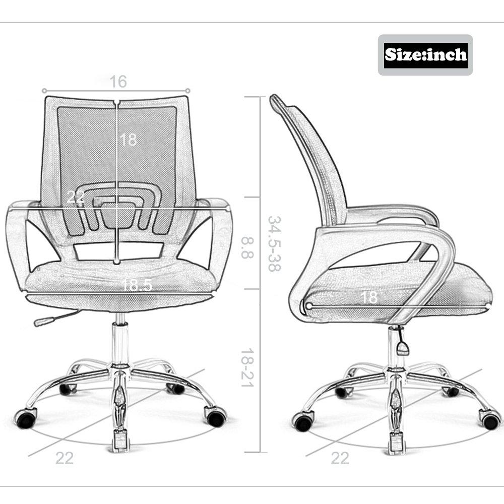 2PC Ergonomic Mesh Office Desk Midback Task Chair w/Metal Base by BestOffice (Image #7)