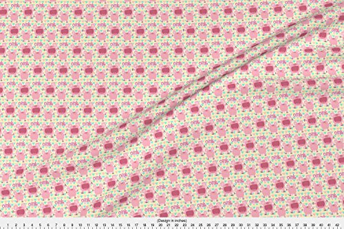 Barnyard Fabric - Pink Piggies - Designed By Dorkydoodles - Fabric Printed By Spoonflower On Fleece Fabric By The Yard