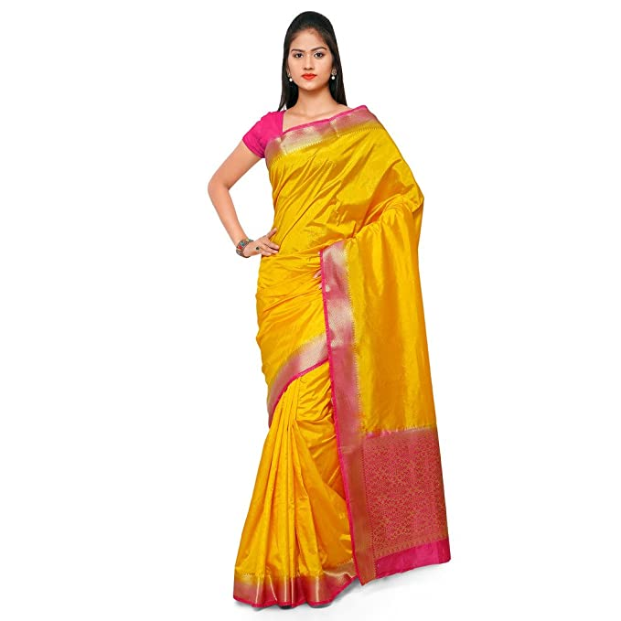 f50e7a2d52 Varkala Silk Sarees Women's Raw Silk Kanchipuram Saree With Blouse  Piece(ND1037GDRN_Yellow_Free Size): Amazon.in: Clothing & Accessories