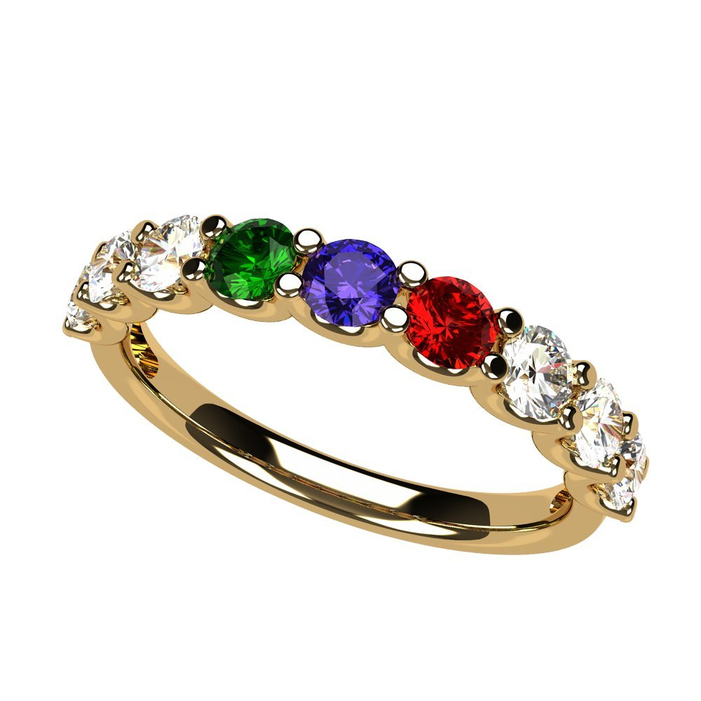 NANA U'r Family Ring 1 to 9 Simulated Birthstones - 14k Yellow Gold - Size 8