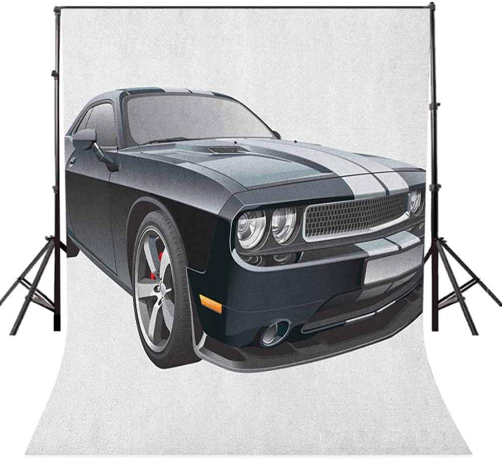 8x12 FT Cars Vinyl Photography Background Backdrops,Black Modern Pony Car with White Racing Stripes Coupe Sports Dragster Print Background Newborn Baby Portrait Photo Studio Photobooth Props