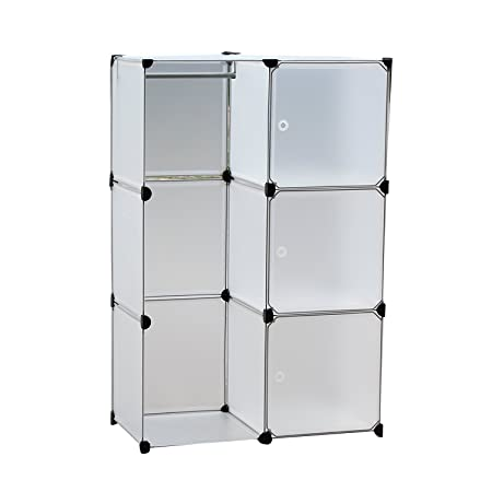 EBS® Plastic Wardrobe Bedroom Furniture Interlocking Box Cube Cabinet  Storage Clothes Closet Unit Organizer