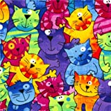 funny colourful cats flannel fabric Timeless Treasures USA (per 0.5 yard multiple)
