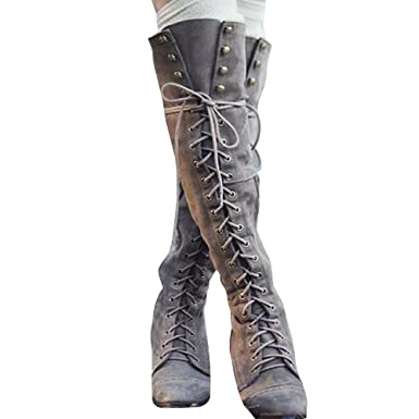 e4ac4b0a930f Amazon.com: Womens Thigh Knee High Boots Wide Calf Leather Combat Lace up  Shoes with Heel: Clothing
