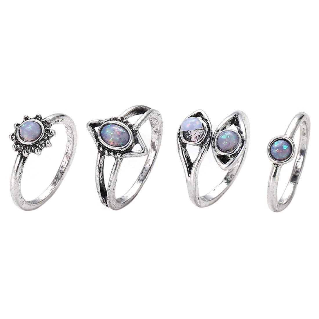 UINKE 4 Pieces Charm Opal Stone Flower Rings Bohemian Stackable Ring Set Gift for Women