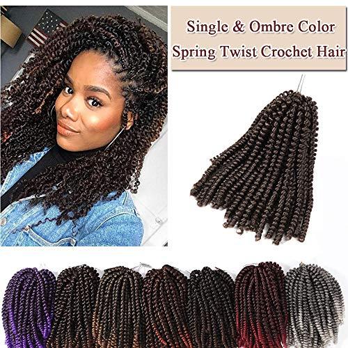 3 Packs Spring Curl Hair Twist Crochet Braids Hair Extensions Fluffy Spring Curls Twist Wavy Braids Hair Ombre Color Bomb Twist Braiding Hair Low Temperature Fiber 30 strands(8'',Medium - Strand Three Twist
