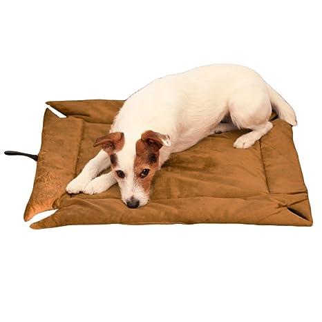 Evelots Self Calefacción para cama individual, mascota, perros y gatos, suave, marrón