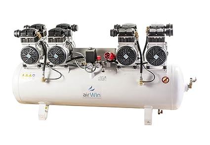 Airwin Silencioso unidad de aire comprimido Compresor sin aceite 4 x 1,5 kW/
